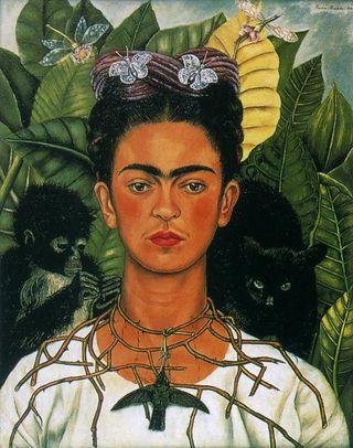 Kahlo_SelfPortrait wThornNecklace&Hummingbird